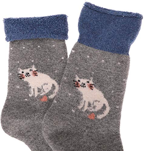 bf78b12538d1f Womens Cat Wool Fuzzy Socks Cabin Thick Heavy Thermal Warm Winter Crew Socks  For Cold Weather