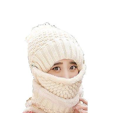 liwei18 Unisex Winter Knit Trooper Hat with Windproof Mask Scarf ... 049df4b32b