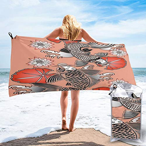 K0k2to Fast Drying Beach Travel Camping Towel,Sacred Carp in Traditional Japanese Ink Style with Lilles Classic Artwork,Quick Dry Lightweight Bath Towel