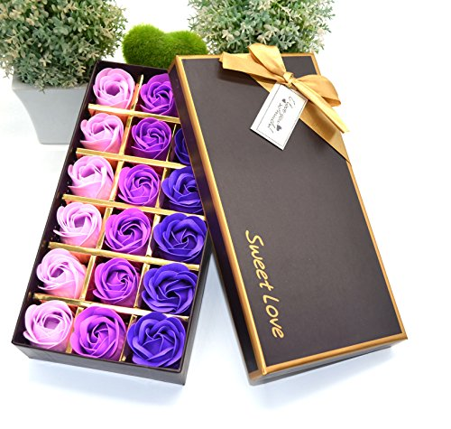 MAYMII 18Pcs Flora Scented Bath Soap Rose Flower Flowers Made By Nature Plant Essential Oil Set,in Gift Box, (Pink,Blue, Red, Purple for Choice) (Purple)