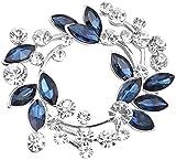 Gyn&Joy Silvery Tone Synthetic Sapphire blue Crystal Rhinestone Floral Wreath Brooch Pin