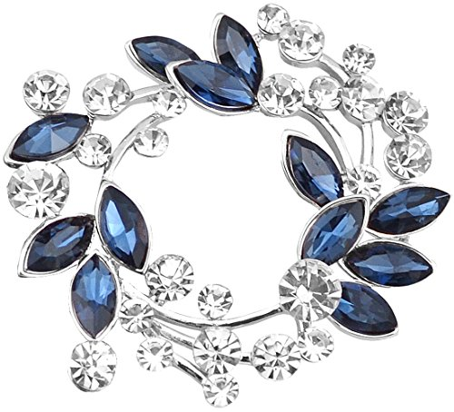 Gyn&Joy Silvery Tone Synthetic Sapphire Blue Crystal Rhinestone Floral Wreath Brooch - Wreath Swarovski