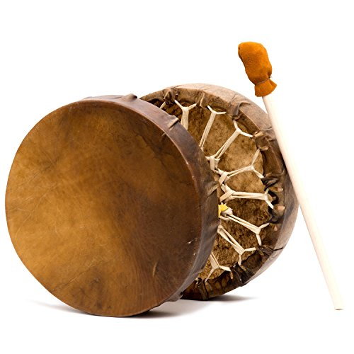Shamans Market Native American Style Buffalo Hide Frame Hand Drum 15 in