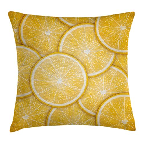 [Yellow Decor Throw Pillow Cushion Cover by Ambesonne, Citrus Orange Lemon Cut Fresh Fruit Pattern Healthy Cool Living Inspired Artprint, Decorative Square Accent Pillow Case, 16 X 16 Inches, Orange] (Square Cut Lemon)