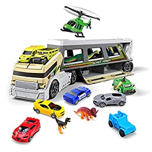 Veken Toy Truck Transport Car Carrier Truck Toys with 4 Dinosaurs & Race Cars, 1 Helicopter, Police Car, Ambulance, Jeep, Tank Mega Vehicle Toys Set, Great Gift for Boys Girls