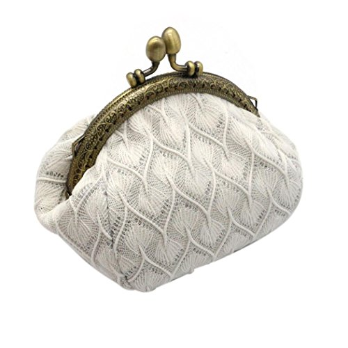 Sewing Coin Purse - LUNIWEI Women Retro Vintage Exquisite Clasp Lace Coin Purse Cards Case Buckle Wallet
