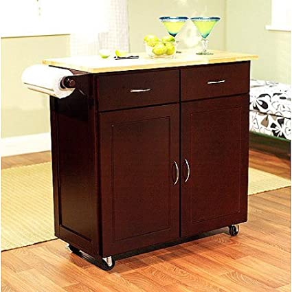 Amazon Com Large Kitchen Cart With Wood Top Multiple