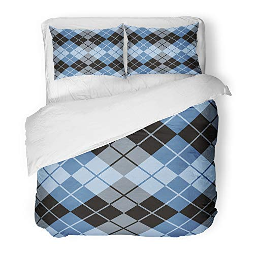 Emvency 3 Piece Duvet Cover Set Brushed Microfiber Fabric Abstract Argyle Design in Blue and Black Repeats Seamlessly Classic Clip Grey Breathable Bedding Set with 2 Pillow Covers Full/Queen Size