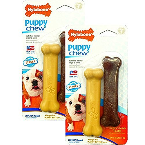 Chicken Flexible Nylabone Bone (Nylabone Just For Puppies Peanut Butter and Chicken Flavored bone Puppy Dog Chew Toy, Twin Pack [2-Pack])