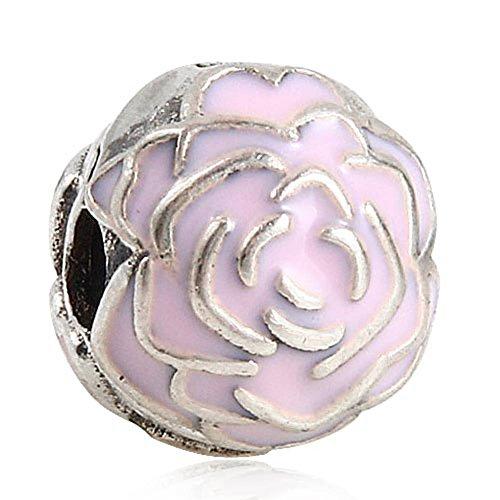 Enamel Garden - Choruslove Pink Rose Garden Clip Lock Charm Enamel 925 Sterling Silver Bead for European Bracelet Jewelry Mother's Day Gift