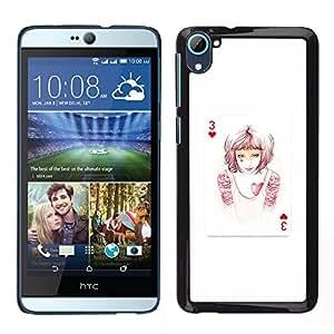 For HTC Desire D826 Case , 3 Of Hearts - Diseño Patrón Teléfono Caso Cubierta Case Bumper Duro Protección Case Cover Funda