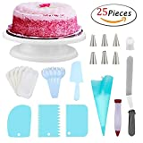 Cake Turntable Set Kit,25 Baking Accessories with Russian Piping Tips,Cake Turntable Rotating Stand,Icing Smoother,plate,fork,Cake Spatula,Silicone Pastry Bags,Cake Pen,Icing Spatula By Meleg Otthon
