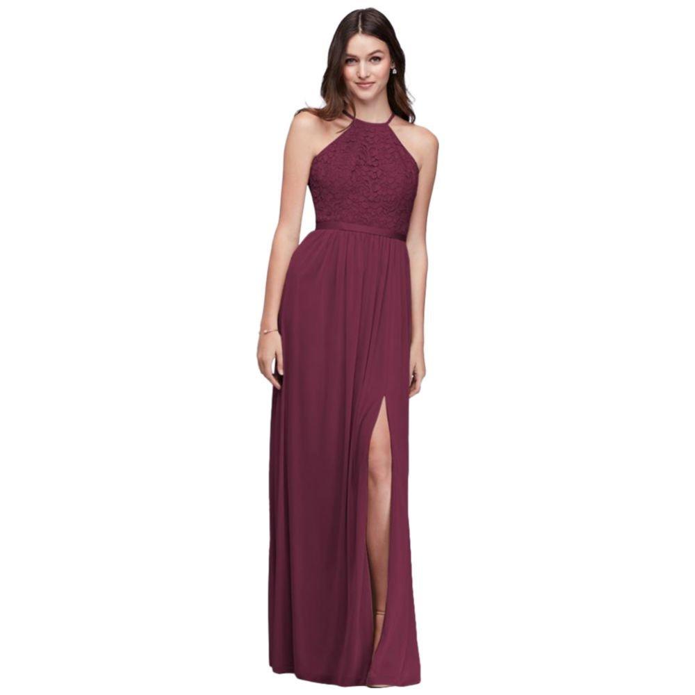 fa3a259fc81e David's Bridal Lace Halter Bridesmaid Dress with Long Mesh Skirt Style  F19608 at Amazon Women's Clothing store: