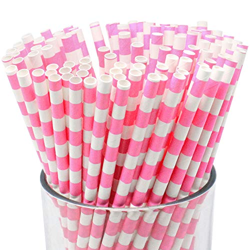 (Just Artifacts Decorative Rugby Striped Paper Straws (100pcs, Rugby Striped, Bubblegum Pink))