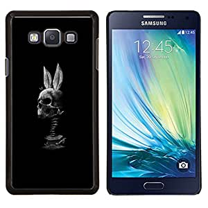 "Be-Star Único Patrón Plástico Duro Fundas Cover Cubre Hard Case Cover Para Samsung Galaxy A7 / SM-A700 ( Cráneo Conejo Negro divertido Blanca"" )"