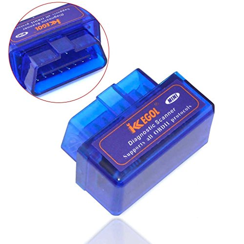 iKKEGOL Super Mini Bluetooth OBD2/OBDII Scan Tool for Android Torque App (Blue)