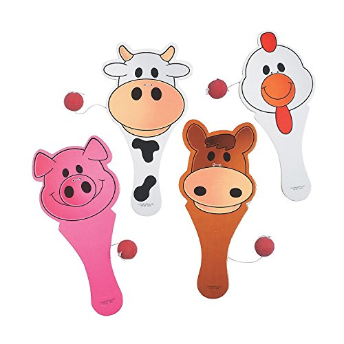 Fun Express Wooden Farm Animal Paddle Balls (12 Pack) (Wood N Horse Ranch)