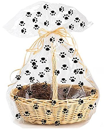 5 pack Paw Print Large (25inchx 30inch) Cello/cellophane Bags Gift Basket Bags