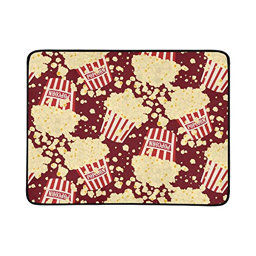 VvxXvx Collection of Popcorn Hand Drawn Pattern Portable and Foldable Blanket Mat 60x78 Inch Handy Mat for Camping Picnic Beach Indoor Outdoor Travel ()