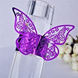 Set of 50 Butterfly laser cut paper napkin Rings Holders Party Wedding Favors for bodas Table Decoration (Purple)