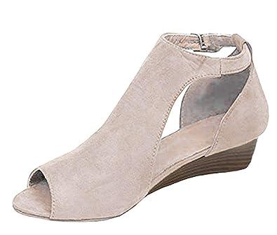4fa666c12e15f8 Minetom Chaussure Mode Sandale Espadrille Peep-Toe Plateforme Femme Corde  Lacets Multi-Bride Talon