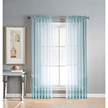 Window Elements Diamond Sheer Voile Extra Wide Rod Pocket Curtain Panel, 56 x 84-Inch, Light Blue