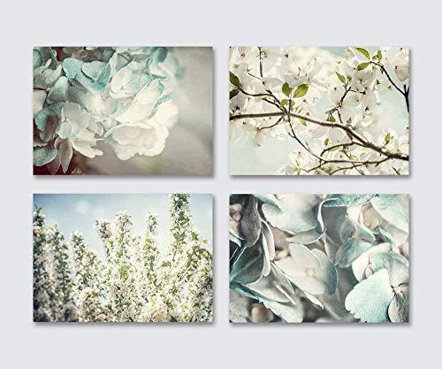 "Blue Shabby Chic Wall Decor Set of 4 Unframed 5x7"" Flower Prints. Hydrangea, Cherry and Dogwood Blossom Botanical Art for Bedroom, Bathroom or Nursery."
