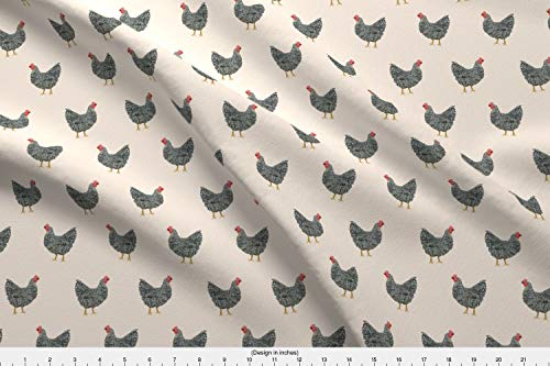 Spoonflower Chicken Fabric - Chicken Rooster Farm Pet Pets Chickens Plymouth Rock - by Petfriendly Printed on Eco Canvas Fabric by The Yard