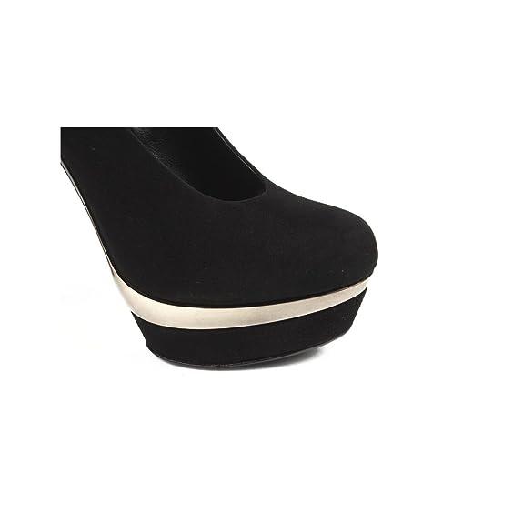 Rodo - Zapatos de vestir de Ante para mujer negro negro y dorado   Amazon.es  Zapatos y complementos 771a067feab2