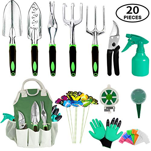 AOKIWO 20 Piece Garden Tools Set, Heavy Duty Aluminum Hand Tool...