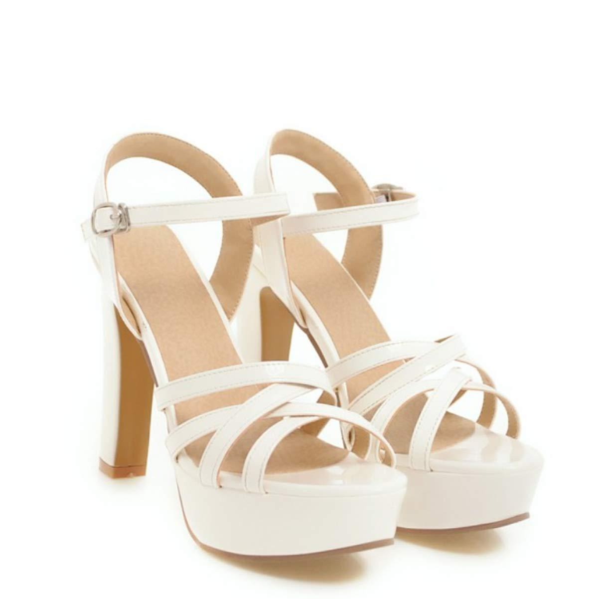 HBDLH Damenschuhe/Sommer 12Cm High-Heel der Den Sandaleen Mode Roughheels Wasserdicht Damenschuhe Schnalle Sommer.