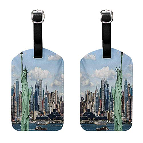 Luggage Tags Holders New York,Statue of Liberty in NYC Harbor Urban City Print Famous Cultural Landmark Picture,Mint Blue Labels for Instrument