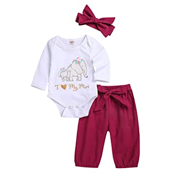 7f56c5843 NUWFOR 3PCS Toddler Kids Baby Letter Elephant Romper+Pants+Headbands Set  Outfit?White