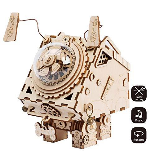 ILYO 3D Laser Cut Wooden Puzzle Machine Seymour Music Box Creative Wooden Music Box Boys and Girls Girlfriends Memorial Ceremony -