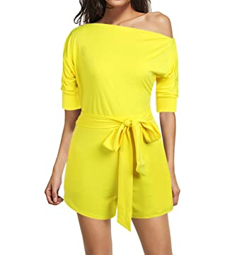 d2adaafa479 Amazon.com  YOUCOO Sexy One Shoulder Solid Jumpsuits Romper Shorts with  Belt  Clothing