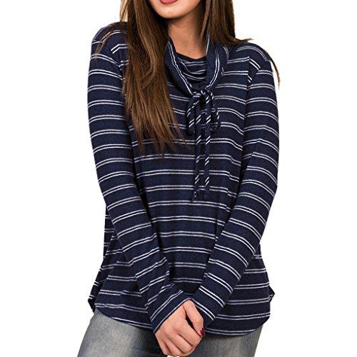 T Fille bleu Automne Manches Casual Masterein Drawstring Shirt Femmes Longues Rayures marin Sweatshirt Tops nXqzA5z7