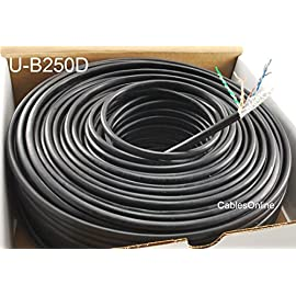 CablesOnline 250ft CAT5e 100% Pure Copper Gel-Filled Watherproof Direct Burial Outdoor Bulk Cable, Black, UB250D 20 CAT5e Solid 4-Pair 100% Pure Copper Gel-Filled Watherproof Direct Burial Outdoor Bulk Cable Solid 24AWG, Tested to 350 MHz Easy Identification Colorstripe Pairs,Meets Cat5e Standards