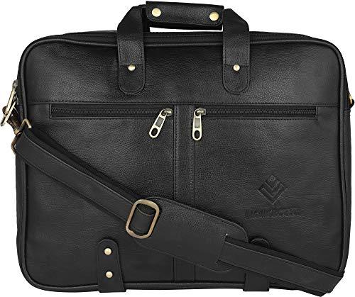 Lioncrown Grain Leather 15.6 inches Laptop Messenger Bags  Black