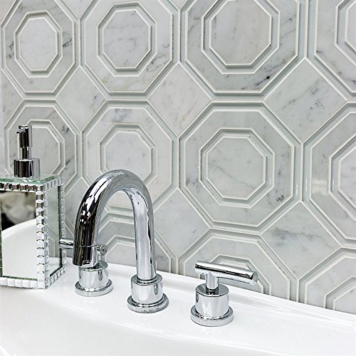 Omni Hex White Carrara and Super White Polished Line (Sold by:SHEET) OMNIHEXWTCSPRWHT