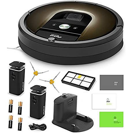 IRobot Roomba 980 Vacuum Cleaning Robot 2 Dual Mode Virtual Wall Barriers With Batteries Extra Side Brush High Efficiency Filter More
