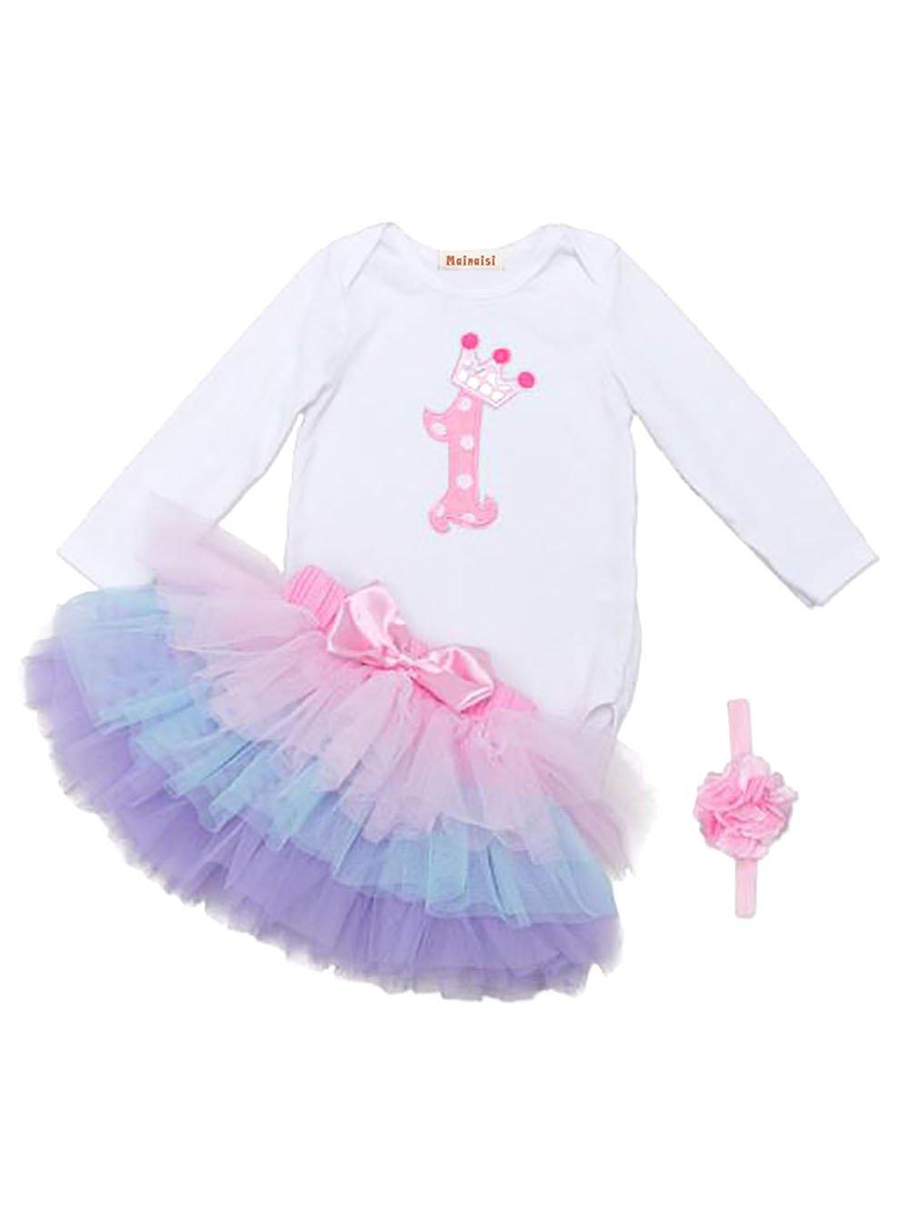 Mainaisi Bambina 3pcs 1st Birthday tutù + fascia + romper imposta Body, 9-24 mesi Mainaisi Network technology Ltd