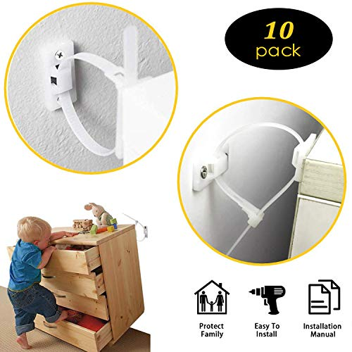Anti Tip Earthquake Furniture Straps, Wall Anchor Kit (10 pack), Furniture Anchors for Baby Proofing Safety, for Cabinet,Dresser,Bookshelf and TV Stand Protect Toddlers & Pet from Falling Furniture