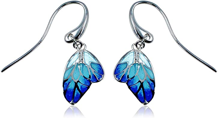 Teal and Green Leaf Enameled Earrings Sterling Silver 925 with Cubic Zirconias
