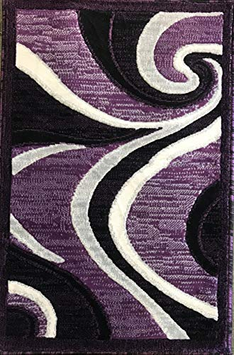Americana Modern Door Mat Contemporary Area Rug Purple Black Gray & Grey Design 144 (2 Feet X 3 Feet) (Black And Rugs Area Purple)