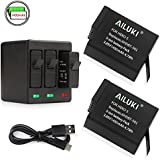 Ailuki Rechargeable Battery 1490MAH 2 Pack and 3-Channel Charger for GoPro Hero (2018),GoPro Hero 5, Hero 6,Hero 5 Black,Hero 6 Black,Hero 7 Black (Fully Compatible with Original Camera)