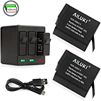Ailuki Rechargeable Battery 1490MAH 2 Pack and 3-Channel Charger for GoPro HERO (2018),GoPro HERO 5, HERO 6,HERO 5 Black,HERO 6 Black(Fully compatible with original camera)