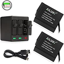 Ailuki Rechargeable Battery 1490MAH 2 Pack and 3-Channel Charger for GoPro HERO 5, HERO 5 HERO 6 Black (Compatible with Firmware v02.51, v02.00, v01.57 and All Future Firmware Update)