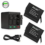 Ailuki Rechargeable Battery 1490MAH 2 Pack and 3-Channel Charger for GoPro HERO (2018) - GoPro HERO 5 - HERO 6 - HERO 5 Black - HERO 6 Black(Fully compatible with original camera)
