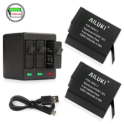 Ailuki Rechargeable Battery 2 Pack and 3-Channel Charger for GoPro HERO 5, HERO5 Black (Compatible with Firmware v02.00, v01.57 ,v01.55 and All Future Firmware Update) …