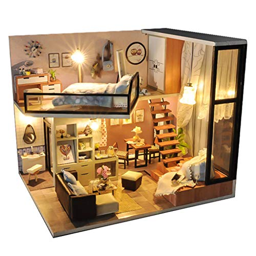 Binory Spring Day Dream Loft 3D Wooden DIY Miniature Dollhouse with LED Lights and Furnitures,Hand-assembled Villa Model,Creative Valentine Birthday Christmas Gift for Women Girls Without Cover